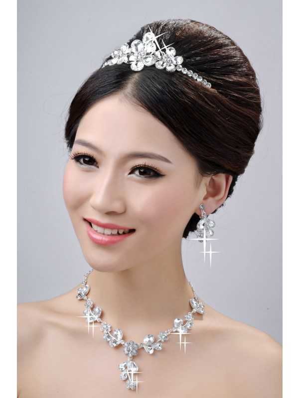 Awesome Alloy Clear Crystals Flower Wedding Headpieces Necklaces Earrings Set