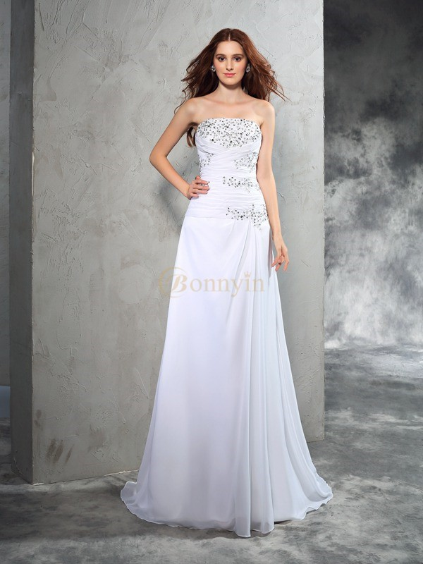 Wit Chiffon Strapless Strak Korte Sleep Trouwjurken